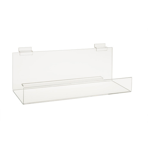 """ACRYLIC BOOK SHELF WITH 2"""" LIP FOR SLATWALL - 16""""L x 4""""D - 6/Pack"""