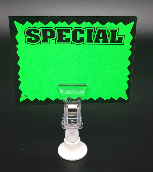 """POP Rotating  Clip Sign Holder with Adhesive Base - 2.25""""h - 25/Pack"""