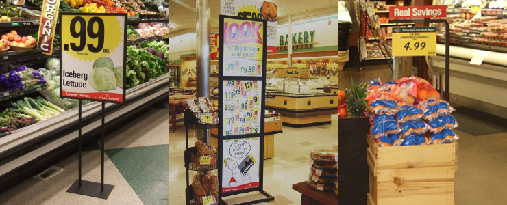 Retail poster Stand displays and floor sign holders