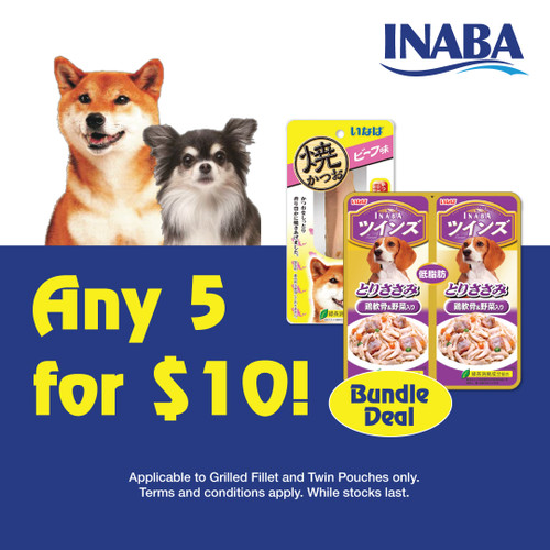 5 for $10 mix and match Inaba treats