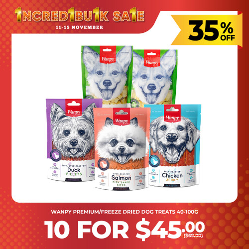 IncrediBULK SALE 10 for $45 WANPY Dog Treats