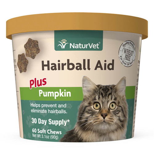 Naturvet Hairball Aid Supplement Plus Pumpkins for Cats 60 ct