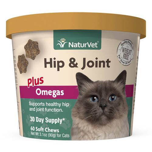 Naturvet Hip & Joint Plus Omegas for Cats 60 ct