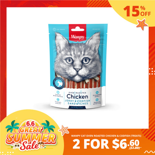 6.6 SALE Wanpy Cat Oven-Roasted Chicken and Codfish Treats