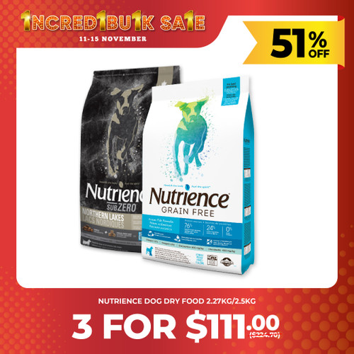 IncrediBULK SALE 3 for $111 Nutrience SubZero Dry Dog Food 2.27kg