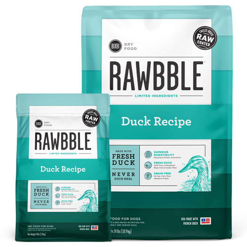Rawbble Grain Free Duck Freeze Dried Raw Coated Limited Ingredient Dry Dog Food