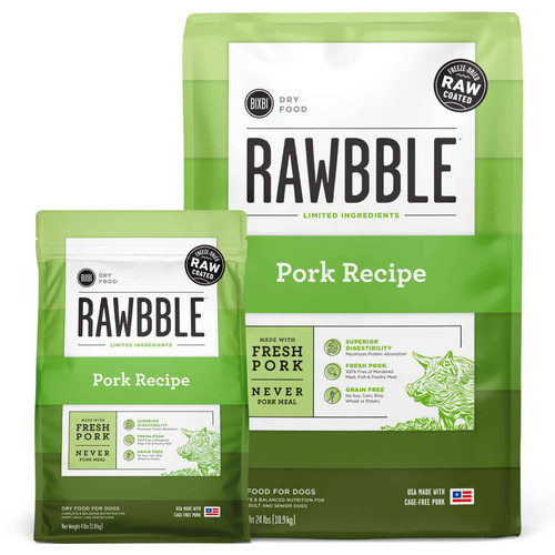 Rawbble Grain Free Pork Freeze Dried Raw Coated Limited Ingredient Dry Dog Food