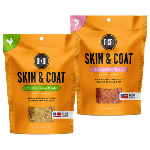 Bixbi Skin and Coat Jerky Grain Free Dehydrated Dog Treats