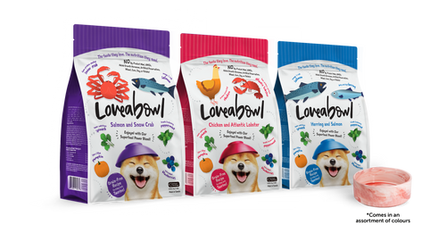 3 for $16.90 bundle with free bowl Loveabowl Dog Kibbles 250g