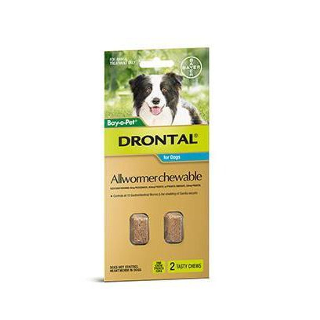 Drontal Allwormer Chews for Dogs up to 22 lbs (up to 10 kg) - 2 Chews
