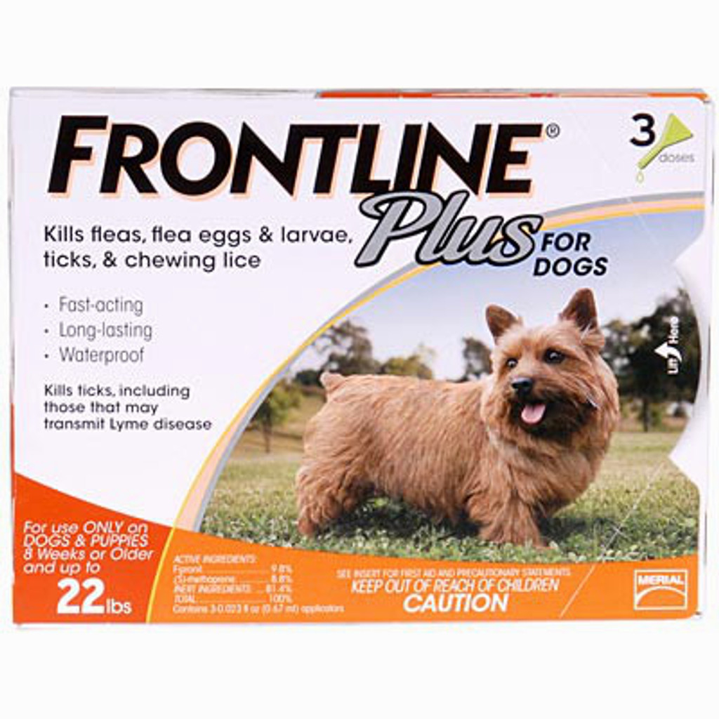 Frontline Plus for Dogs up to 22 lbs (up to 10 kg) - Orange 3 Doses