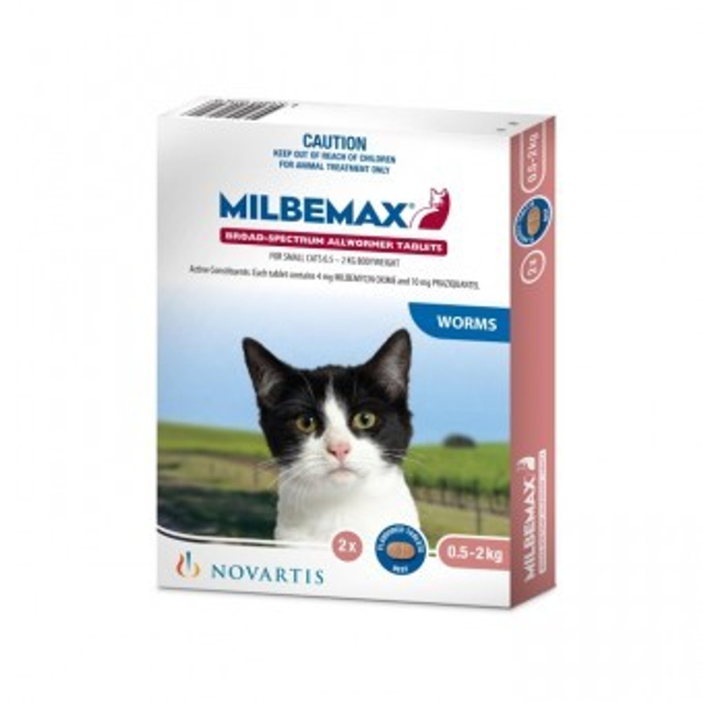 Milbemax Allwormer for Small Cats up to 4.4 lbs (2 kg) - 2 Tablet Pack