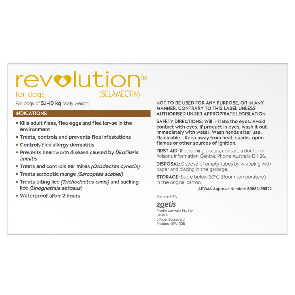 Revolution for Dogs 10.1-20 lbs - Brown 6 Pack + 1 Extra Dose Free and Bonus Worming Tablets