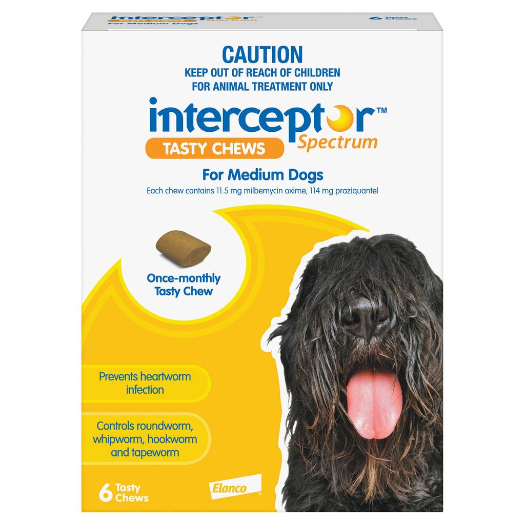 Interceptor Spectrum Chews for Dogs 25.1-50 lbs (11-22 kg) - Yellow 6 Chews