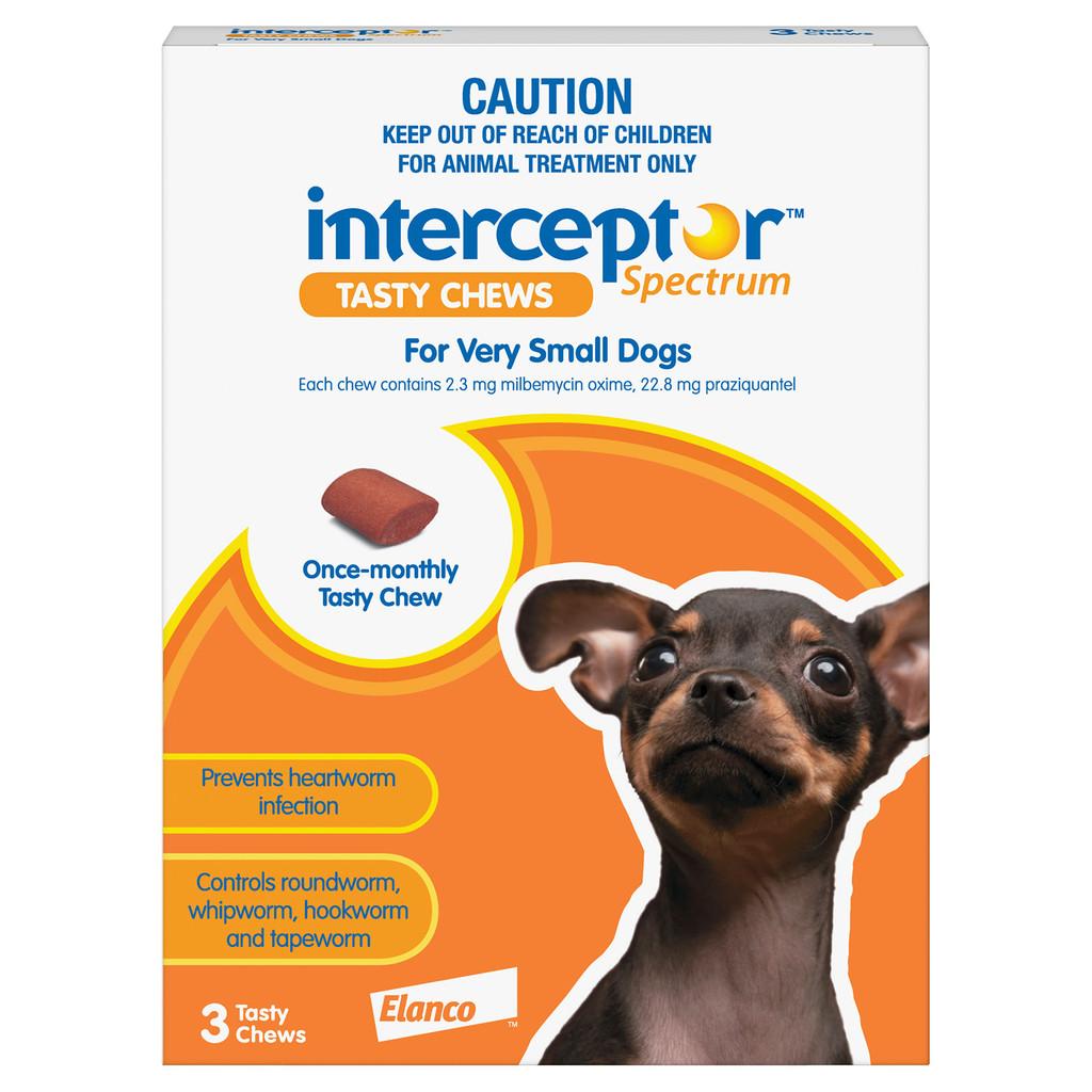 Interceptor Spectrum Chews for Dogs 2-8 lbs (up to 4 kg) - Orange 3 Chews