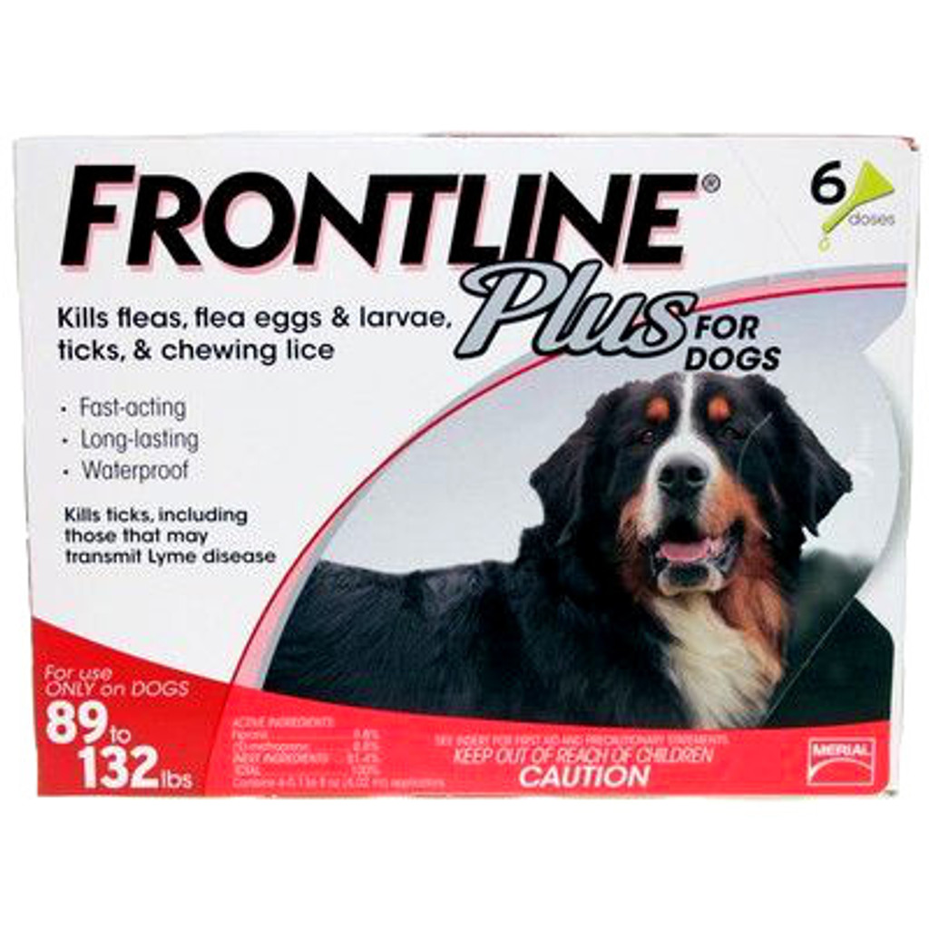 Frontline Plus for Dogs 89-132 lbs (40.1-60 kg) - Red 6 Doses
