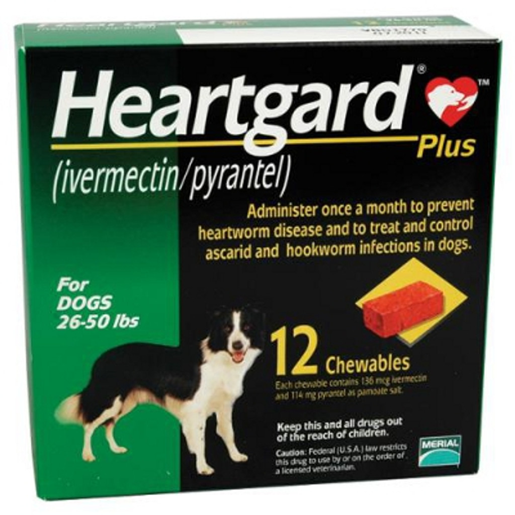 Heartgard Plus Chewables for Dogs 26-50 lbs (12-22 kg) - Green 12 Chews