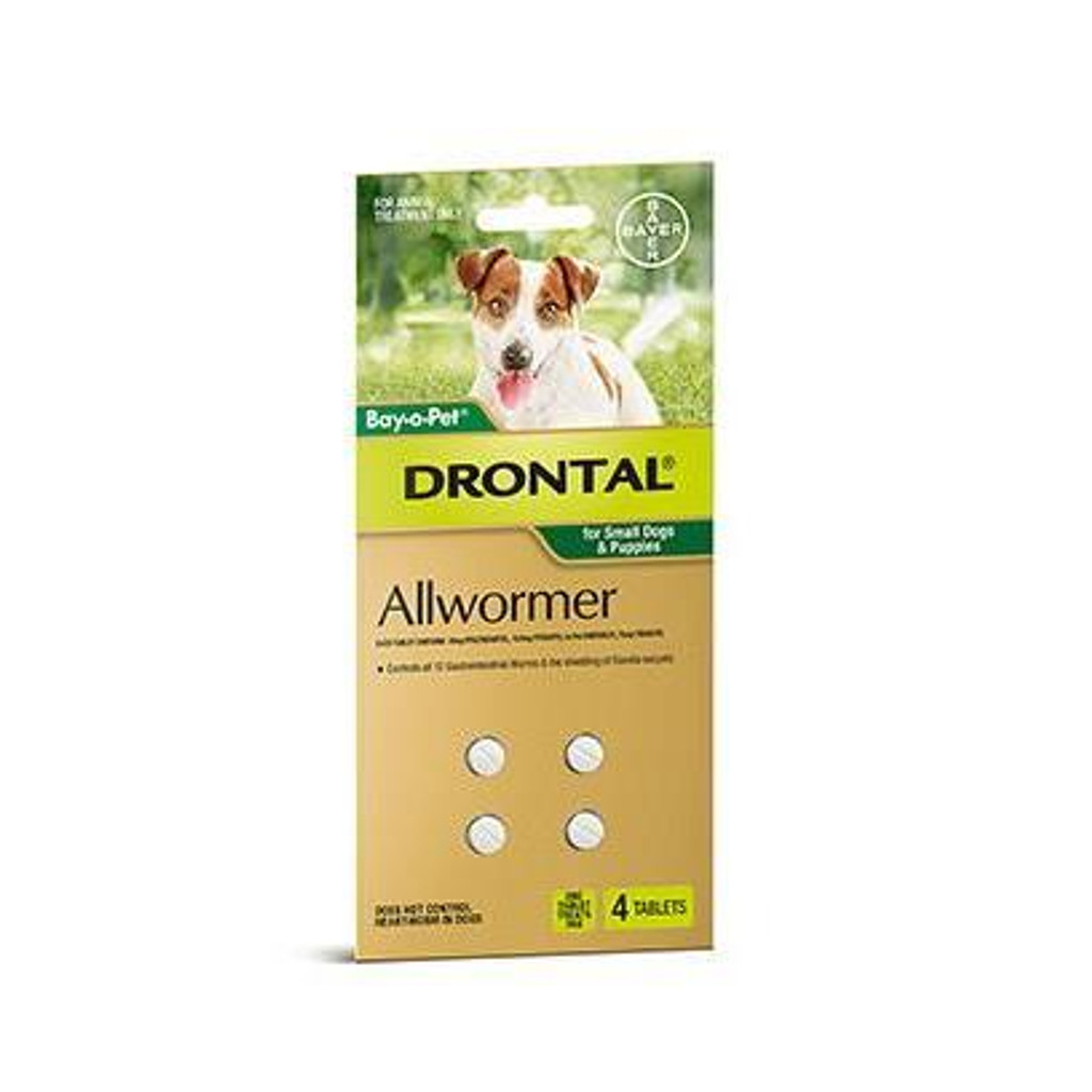 Drontal Allwormer Tablets for Small Dogs & Puppies up to 6.5 lbs - 4 Pack