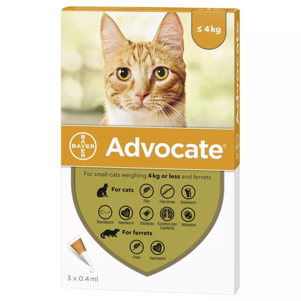 Image of Front of Box for Advocate for Cats under 9 lbs (under 4 kg) - Orange 3 Doses