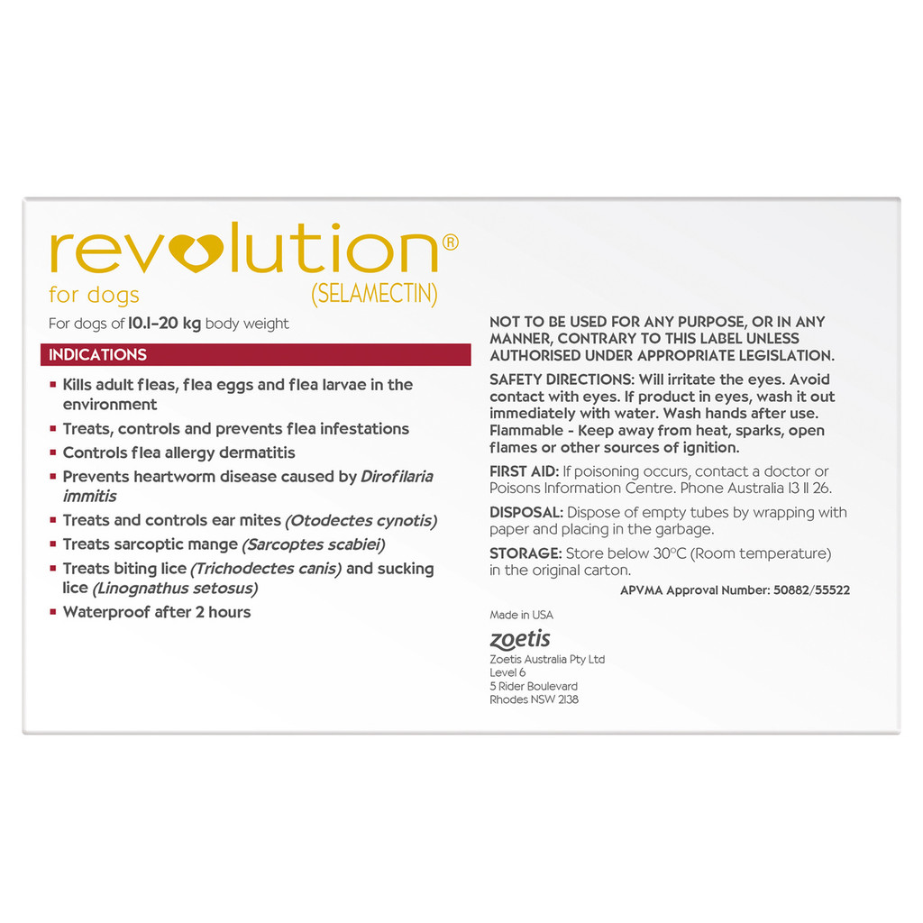 Revolution for Dogs 20.1-40 lbs - Red 12 Pack + 2 Extra Doses Free and Bonus Worming Tablets