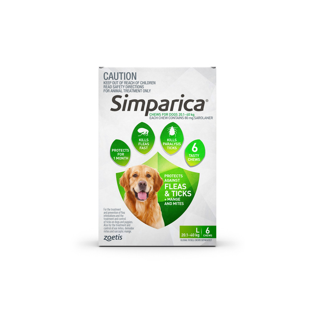 Simparica Chews for Dogs 44-88 lbs (20.1-40 kg) - Green 6 Chews + 2 Bonus Chews (8 Total)