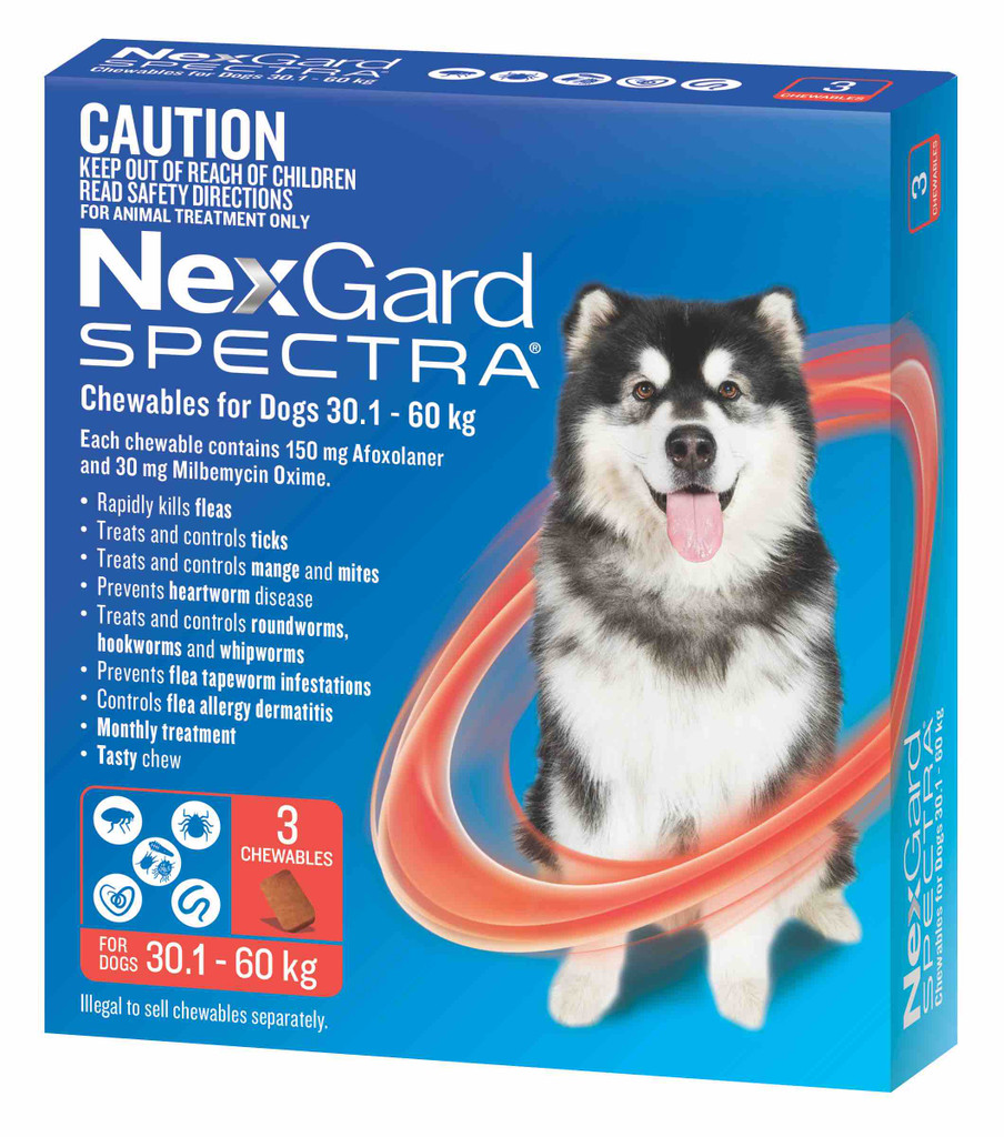 Nexgard Spectra Chews for Dogs 66.1-132 lbs (30.1-60 kg) - Red 3 Chews
