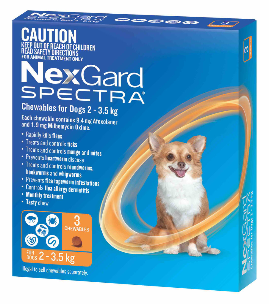 Nexgard Spectra Chews for Dogs 4.4-8 lbs (2-3.5 kg) - Orange 3 Chews