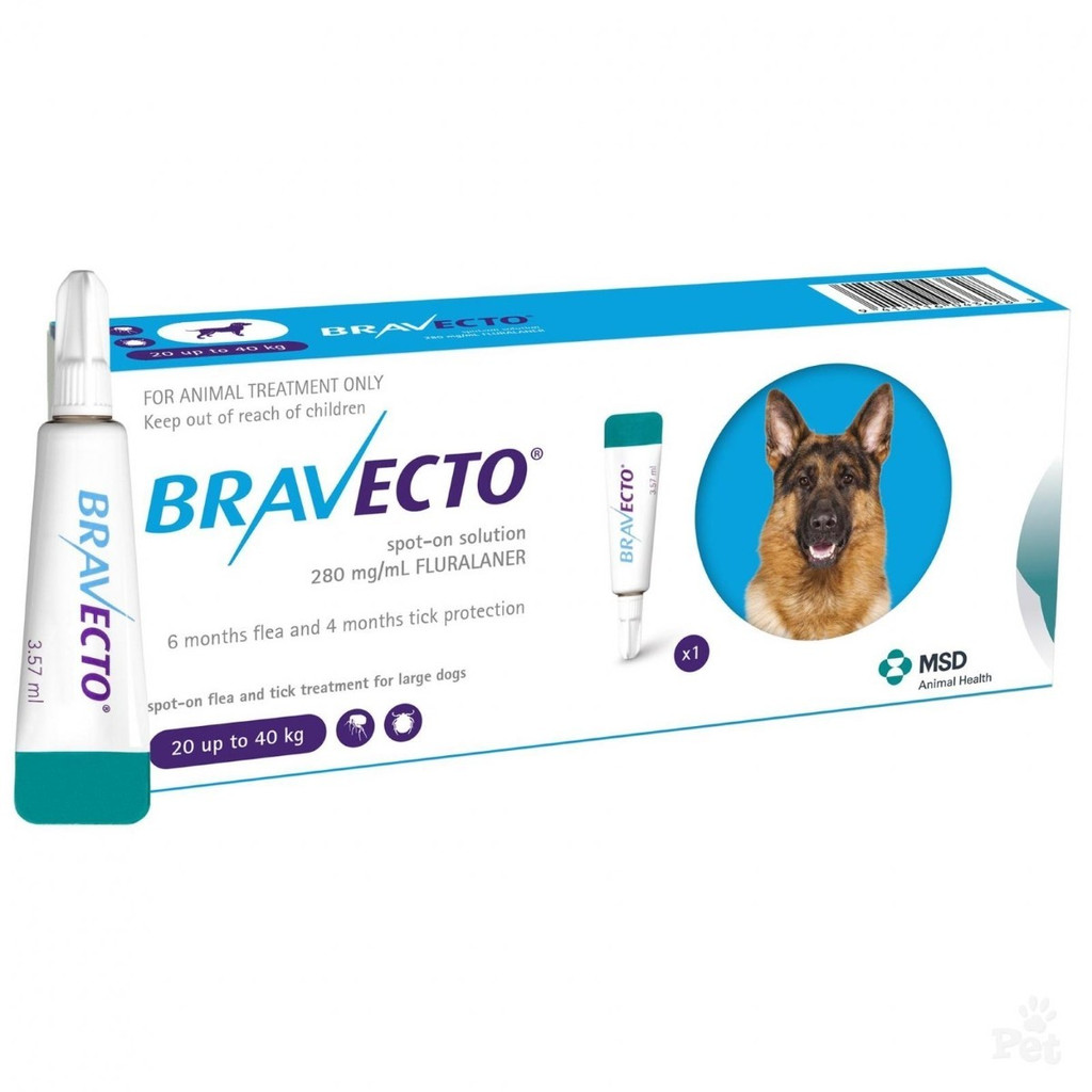 Bravecto Topical Solution for Dogs 44-88 lbs (20-40 kg) - 1 Tube