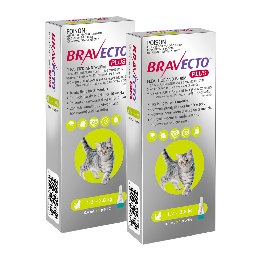 Bravecto PLUS Topical Solution for Cats 2.6-6.2 lbs (1.2-2.8 kg) - Green 2 Doses