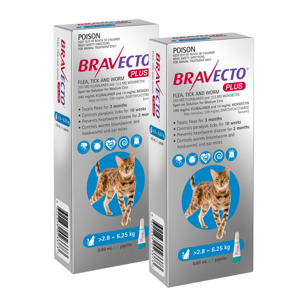 Bravecto PLUS for Cats 6.2-13.8 lbs (2.8-6.25 kg) - 2 Doses (4 Months Flea, Tick, Heartworm, Worm & Ear Mite Protection)