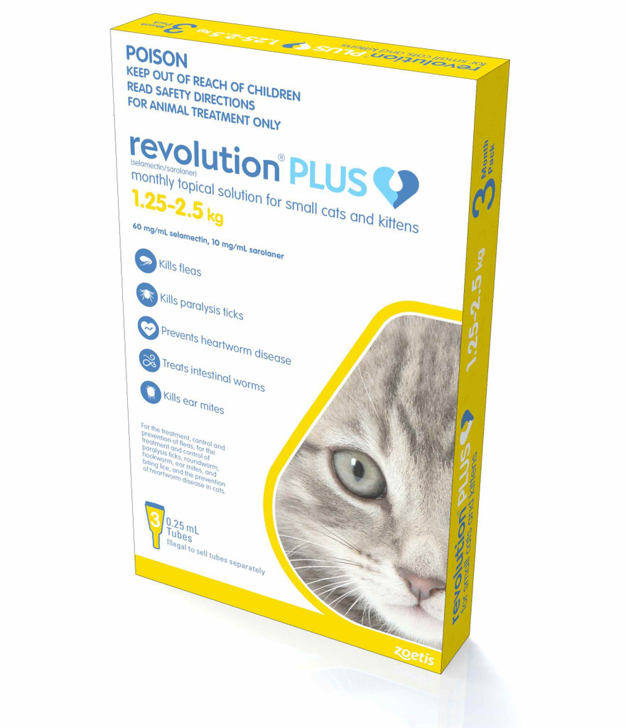 Revolution PLUS for Small Cats and Kittens 2.8-5.5 lbs (1.25-2.5 kg) - Gold 3 Doses + 1 Extra Dose (01/2022 Expiry)