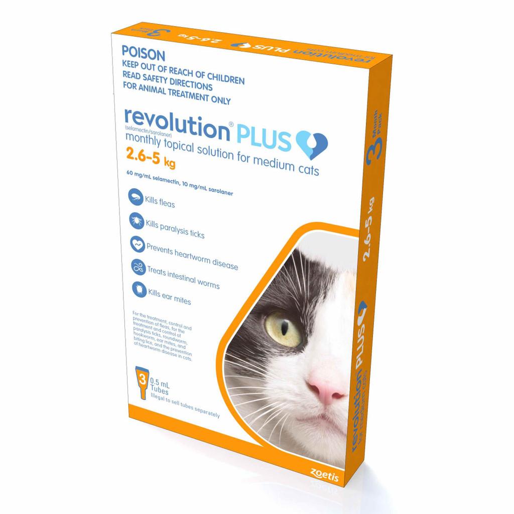Revolution PLUS for Medium Cats 5.6-11 lbs (2.5-5 kg) - Orange 3 Doses