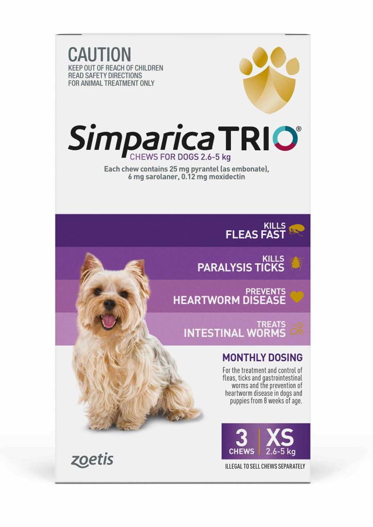 Simparica TRIO Chews for Dogs 5.5-11 lbs (2.6-5 kg) - Purple 3 Chews