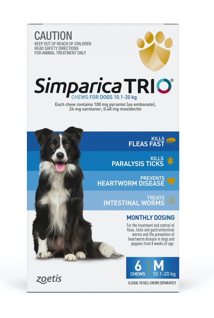Simparica TRIO Chews for Dogs 22-44 lbs (10.1-20 kg) - Blue 6 Chews