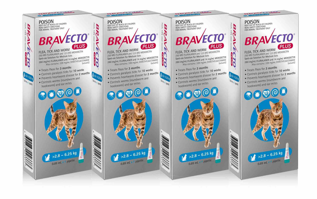 Bravecto PLUS Topical Solution for Cats 6.2-13.8 lbs (2.8-6.25 kg) - Blue 4 Doses