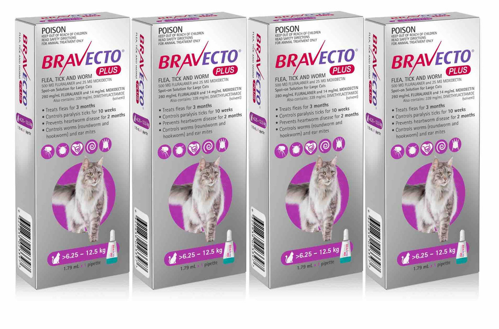 Bravecto PLUS Topical Solution for Cats 13.8-27.5 lbs (6.25-12.5 kg) - Purple 4 Doses