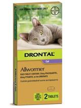 Drontal Allwormer tabletter för katter upp till 8 lbs (upp till 4 kg) - 2 tabletter