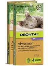 Drontal Allwormer tabletter för katter upp till 8 lbs (upp till 4 kg) - 8 tabletter