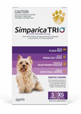 Simparica TRIO Chews pour chiens de 2,6 à 5 kg (5.5-11 lbs) - Violet 3 Chews