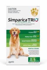 Simparica TRIO Chews per cani 44-88 lbs (20.1-40 kg) - Green 3 Chews