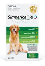 Simparica TRIO Chews per cani 44-88 lbs (20.1-40 kg) - Green 6 Chews