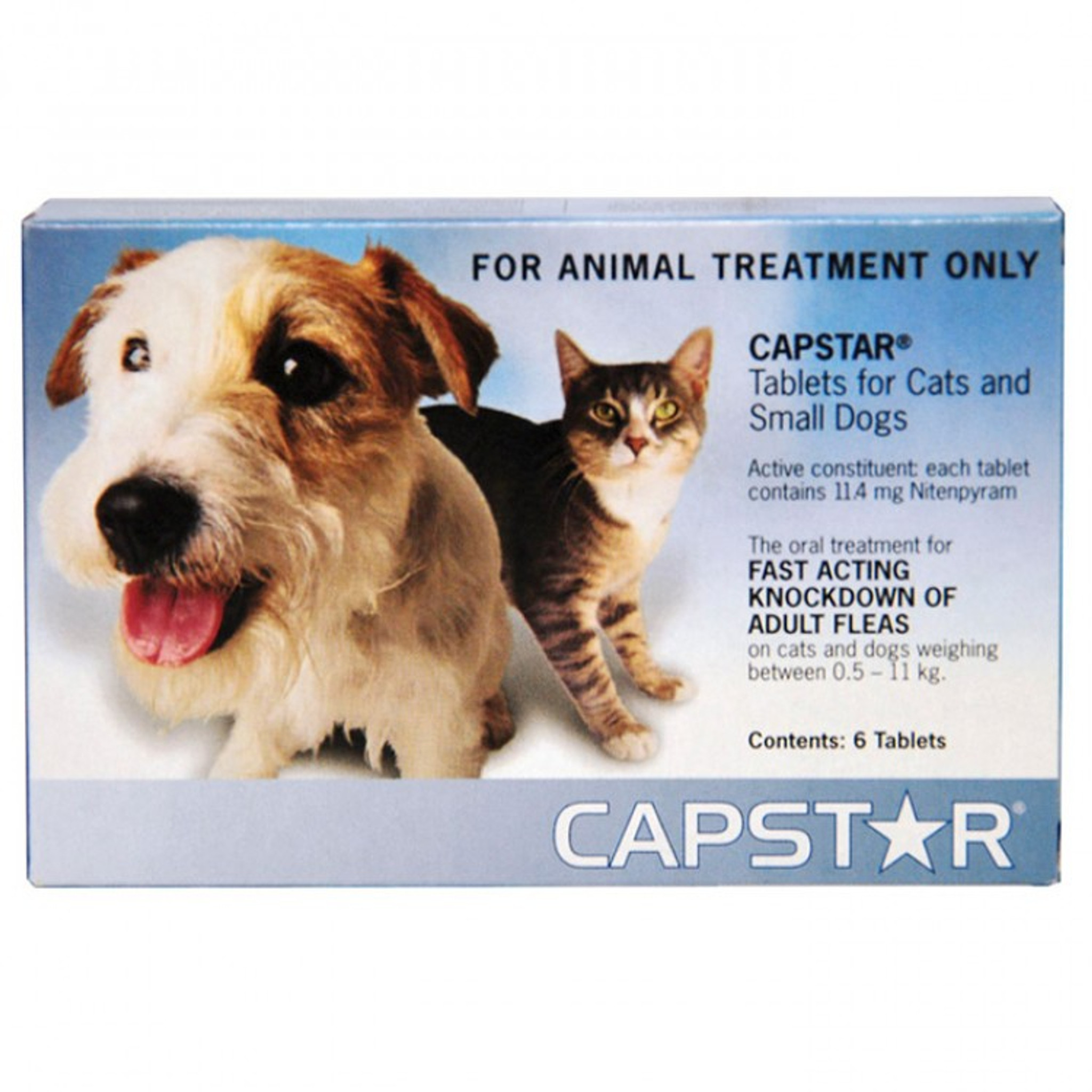 Capstar Flea Treatment Tablets For Small Dogs Cats Up To 25 Lbs Up To 11 Kg Blue 6 Tablets Sierra Pet Meds