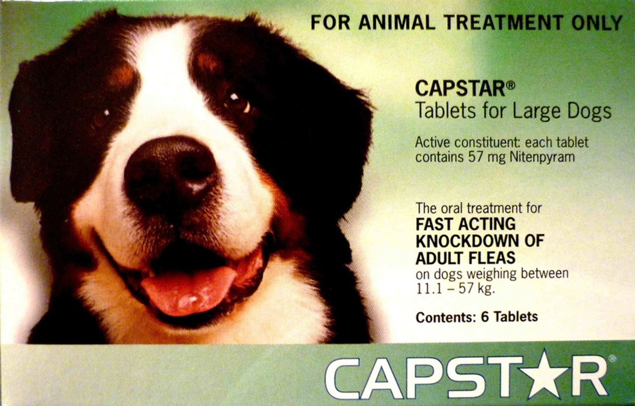 Capstar Flea Treatment Tablets For Dogs 26 125 Lbs 11 1 57 Kg Green 6 Tablets Sierra Pet Meds