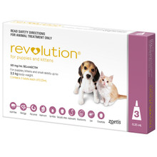 Revolution for Puppies & Kittens up to 5 lbs (up to 2.5 kg) - Mauve 3 Doses