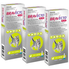Bravecto PLUS Topical Solution for Cats 2.6-6.2 lbs (1.2-2.8 kg) - Green 3 Doses