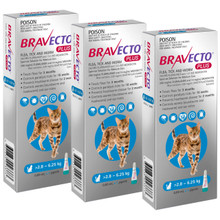 Bravecto PLUS for Cats 6.2-13.8 lbs (2.8-6.25 kg) - 3 Doses (6 Months Flea, Tick, Heartworm, Worm & Ear Mite Protection)
