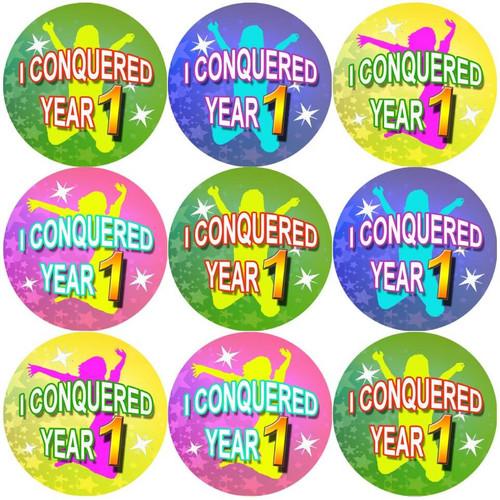Sticker Stocker 144 I Conquered Year 1 - End of Term Year K Teacher Reward Stickers Size 30 mm