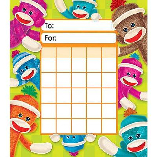 Trend Enterprises Inc Sock Monkeys Incentive chart pad 200 Free Reward Stickers