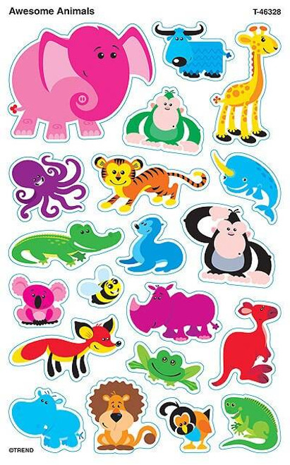Trend Enterprises Inc 160 Awesome Animals SuperShapes Teacher Reward Stickers - Large