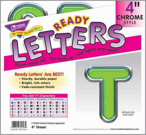 Trend Enterprises Inc Display Board Ready Letters - Green Colourful Chrome 4